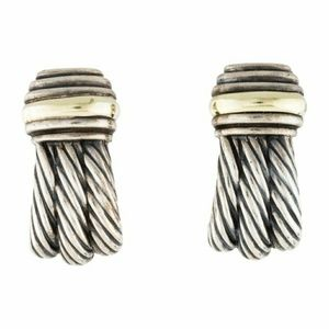 "David Yurman 1"" Sterling Gold Earclips"